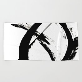 Brushstroke 7: a minimal, abstract, black and white piece Beach Towel
