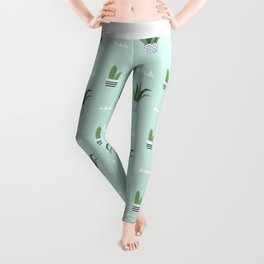 Modern teal green white triangles cactus floral pattern Leggings