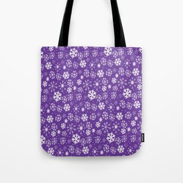 Snowflake Snowstorm With Purple Background Tote Bag