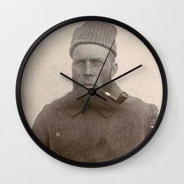 Bearded Ship Captain with Pipe - Vintage Photo Wall Clock