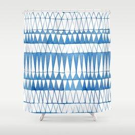 Indigo Triangle Pattern Shower Curtain