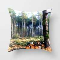 woods Throw Pillows featuring Woods by madbiffymorghulis