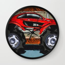 Sports Car Monster Truck Wall Clock