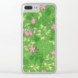 Forest Wildflowers / Green Background Clear iPhone Case