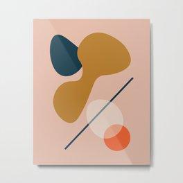 Abstract # 5 Beige Blue Orange Metal Print