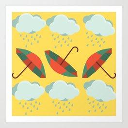 Autumn - Rain And Umbrellas Art Print