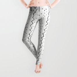 Moroccan Stripe in Cream and Black Leggings