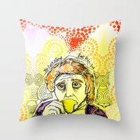 willy wonka Throw Pillows featuring Willy Wonka Drinks His Tea - Gene Wilder  by Sewzinski