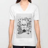 satan V-neck T-shirts featuring Floral Satan by Shaina Stern