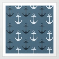 anchors Art Prints featuring Anchors by Zen and Chic