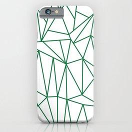 Geometric Cobweb (Olive & White Pattern) iPhone Case