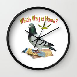 Which Way is Home? Fun Lost Pigeon Art Wall Clock