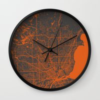 detroit Wall Clocks featuring Detroit map by Map Map Maps