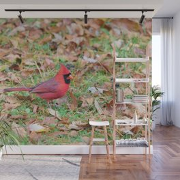 Autumn Leaves Cardinal Wall Mural