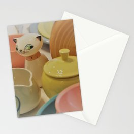 Cozy Kitten and Pastel Dinnerware Stationery Cards