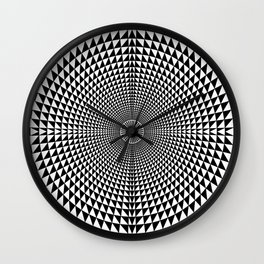 Circle of Triangles against Lines Wall Clock