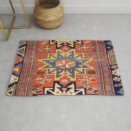 Southwestern Farmhouse IV // 19th Century Colorful Red Yellow Blue Green Aztec Farm Stars Pattern Rug