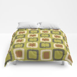 Mid Century Modern Squares Chartreuse Comforters