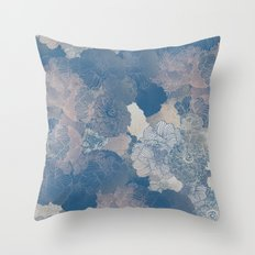 Airforce Blue Floral Hues  Throw Pillow