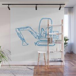 Mechanical Digger Mono Line Wall Mural