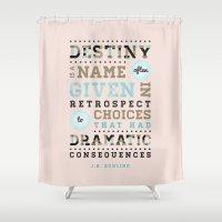 destiny Shower Curtains featuring Destiny by Megan Matsuoka