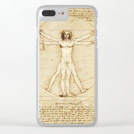 Vitruvian Man Drawing by Leonardo da Vinci Clear iPhone Case