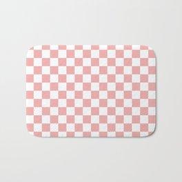 Large Lush Blush Pink and White Checkerboard Squares Bath Mat
