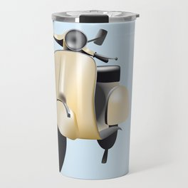 Three Vespa scooters in the colors of the Italian flag Travel Mug
