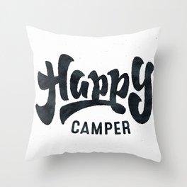 HAPPY CAMPER Black and White Retro Throw Pillow