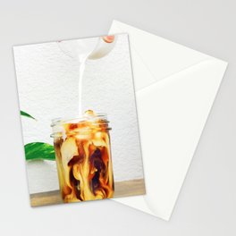 Coffee & Cream // Slow Milky Pour Over Cold Brew Caffeine in Mason Jar Plants & Owl Picture Stationery Cards