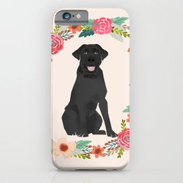 black lab floral wreath flowers dog breed gifts labrador retriever iPhone Case