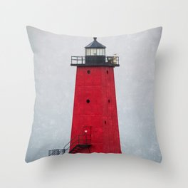 Red Manistique East Breakwater Lighthouse Upper Peninsula Lake Michigan Throw Pillow