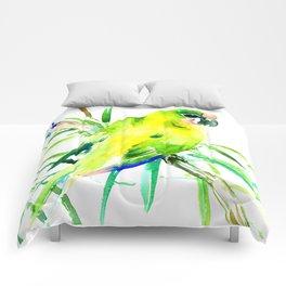 Green-Yellow Parrot, yellow green room design Comforters