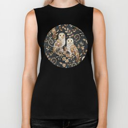 Wooden Wonderland Barn Owl Collage Biker Tank
