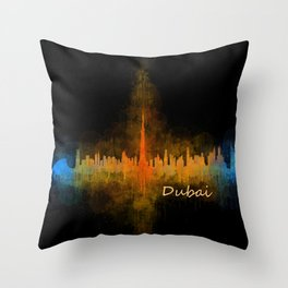 Dubai, emirates, City Cityscape Skyline watercolor art v4 Throw Pillow