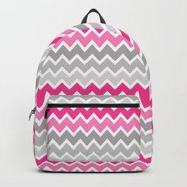 Hot Pink Gray Chevron  Backpack