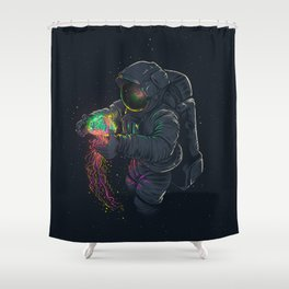 astronaut jellyfish space digital art Shower Curtain
