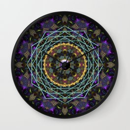 Purple Yin Yang Sacred Geometry Fractals Wall Clock