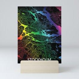 Stockholm, Sweden, City, Map, Rainbow, Map, Art, Print Mini Art Print