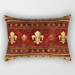 Fleur-de-lis Red Marble and Gold Rectangular Pillow
