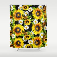 sunflowers Shower Curtains featuring Sunflowers by Saundra Myles