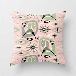 Siamese Cat Abstract on Pink Throw Pillow