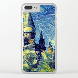 Hogwarts Starry Night Fantasy Castle Tapestry Clear iPhone Case