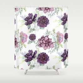 Succulents Deep Violet Lavender Pastel Green Lilac PatternSee Nature Magick for more pretty pastel c Shower Curtain
