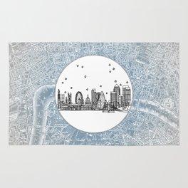 London, England (United Kingdom), Europe City Skyline Illustration Drawing Rug