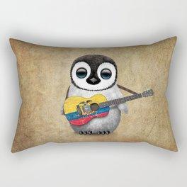 Baby Penguin Playing Ecuadorian Flag Acoustic Guitar Rectangular Pillow