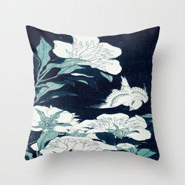 JAPANESE FLOWERS Midnight Blue Teal Throw Pillow