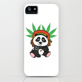 Panda High Black & White Stoned Pot 420 Kush Ganja Cannabis Weed Marijuana Smoke T-shirt Design iPhone Case