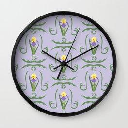 Iris Flowers Illustrated Pattern Purple Green Yellow Summer Garden Wall Clock