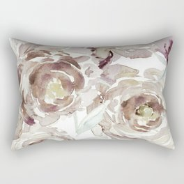 Earthy Painterly Floral Abstract Rectangular Pillow